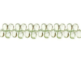 Green Amethyst Faceted Briolette Bead 7x5mm - 1 Strand (9103) Wholesale price