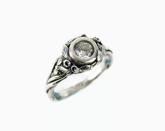 Nature Inspired Engagment Ring - Nature Jewelry - Sterling Silver Rose Ring - Cubic Zirconia - Silver Rose Ring - Rose Wedding Ring - Sz 6.5
