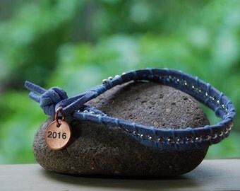 The graduate - wrap bracelet with custom stamping