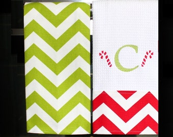 Monogrammed Christmas Towels - Red and Green Chevron | Housewarming Gift | Hostess Gift | Gifts for Her