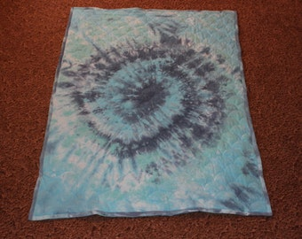 Baby Quilts - Baby Crib Size Quilt - All Blue Big Swirl Tie Dye Quilt - Reversible Back - Ready To Ship Baby Quilt