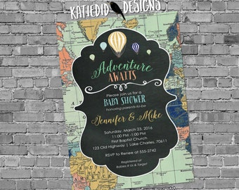 world map baby shower Travel themed invitation oh the places you'll go adventure awaits hot air balloon chalkboard gay 1469 Katiedid Designs