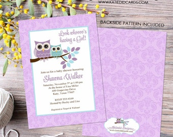 owl baby shower invitation owl first birthday baby girl shower damask purple aqua baby sprinkle baptism (item 1375) shabby chic invitation