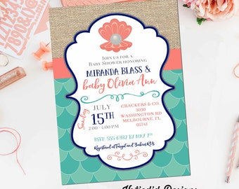mermaid baby shower invitation bridal 1343 pearl clam wedding party navy coral scales bachelorette rehearsal dinner engagement under the sea