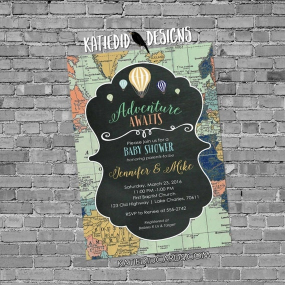 Adventure awaits baby shower invitation gender neutral reveal map rustic chic hot air balloons chalkboard sip see world 1469 diaper world
