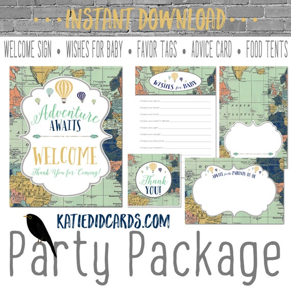 Adventure awaits map 1466 5 item package AS IS Instant Download Welcome sign wishes for baby favor tag food advice hot air balloon