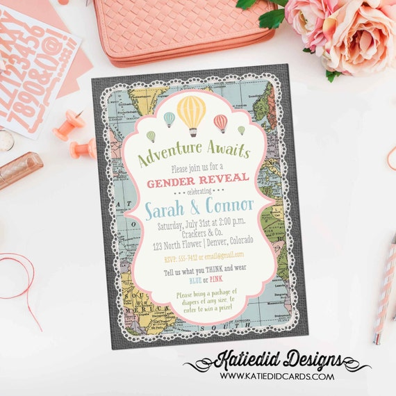 Gender reveal invitation Adventure awaits baby shower gender neutral map hot air balloon burlap sip and see world travel 1455 diaper world