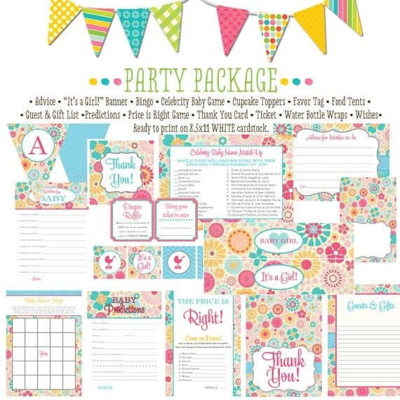 flower baby shower party package 1369 package AS IS Matching games ticket banner bingo thank you card, water bottle wraps, cupcake toppers