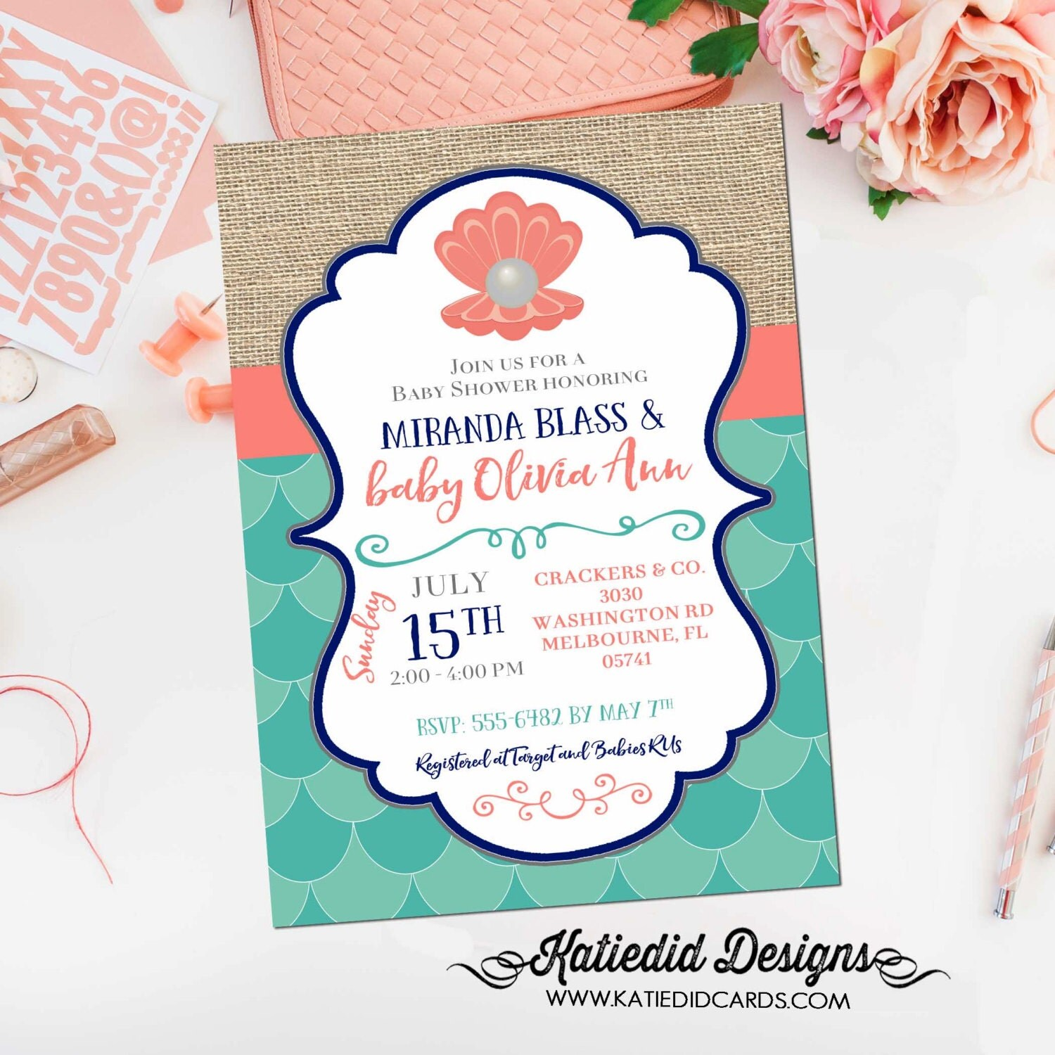 mermaid baby shower invitation bridal 1343 pearl clam wedding