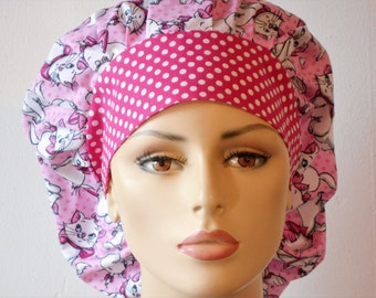 Scrub Hats Pretty Kitty Bouffant Scrub Hat All Over with a Pink Polka Dot Headband USA