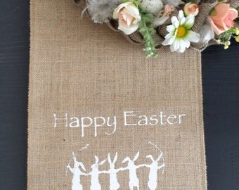 Easter table runner, Easter bunny, burlap runner, happy Easter runner, easter linen, spring table,printed burlap easter runner