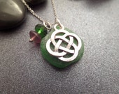 Celtic Knot Necklace, Scottish Sea Glass Jewelry, Green Sea Glass, Gift from Scotland
