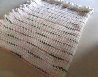 Crochet Lap Blanket, Colorful Striped White and Pink Throw Small Afghan, Baby Girl Gift, Buy One Donate One