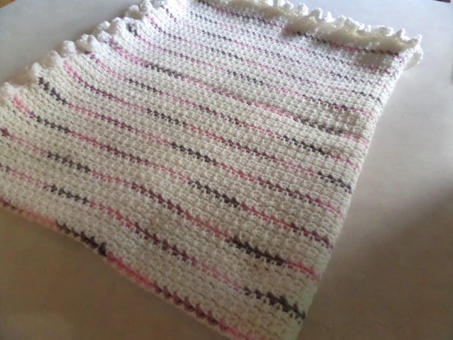 Crochet Lap Blanket Colorful Striped White And Pink Throw