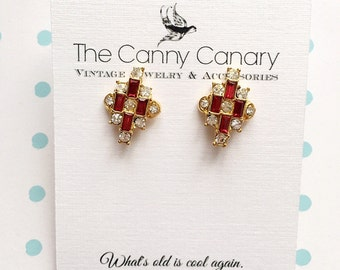 70's Vintage Ruby Red Sparkle Earrings