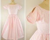 Vintage 1950s Lanz Dress / Cold Shoulder Dress / Pink and White Gingham / Day Dress / Cotton Dress / XS