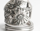 Daisy Ring, Sterling Silver Spoon Ring, Flower Spoon Ring, Angular Daisy Flower, Handmade Ring, Unique Gift for Her, Adjustable Ring (6064)