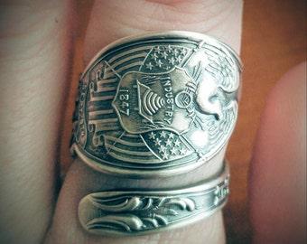 Utah Ring, Eagle Crag Rock, Sterling Silver Spoon Ring, Souvenir Spoon, Utah State Zion National Park, Utah Jewelry, Custom Ring Size (6216)