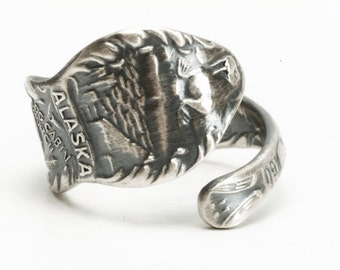Alaska Ring Totem Ring, Sterling Silver Spoon Ring, Log Cabin Church, Walrus Animal, Made in Alaska, Small Ring, Adjustable Ring Size (5986)