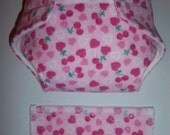 "Baby Doll Diaper/wipe - cherry ""hearts"", green leaves on pink   - adjustable for many dolls such as bitty baby"