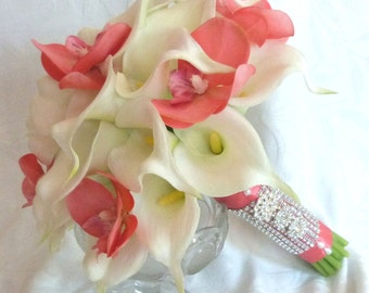 Real touch White Calla lily wedding bouquet with coral orchids 2 piece set