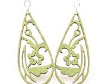 Tear Drop Flower Earrings - Wood