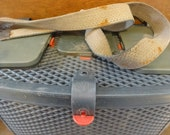 Vintage French Plastic Canvas Strapped Fishing Carry Storage Tackle Box circa 1970-80's / English Shop