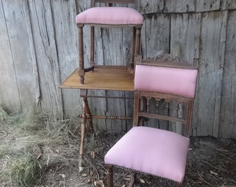 Antique French pink chair recently re-upholstered dining table office circa 1900-10's / English Shop