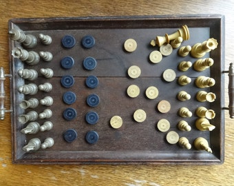Vintage English Chess Draughts Board Game Pieces circa 1950-70's / English Shop