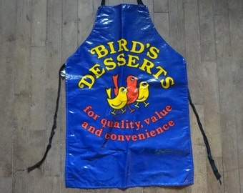 Vintage English Cotton Coated PVC Bird's Desserts Custard Apron Cooking Kitchen Collectable circa 1970-80's / English Shop