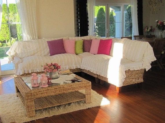Sectional Couch Cover L Shaped Sofa Throw Covers Ruffled