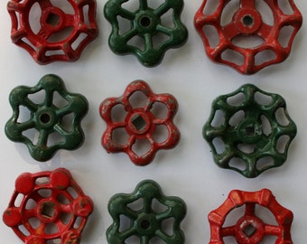 9 Red and Green Faucet Handles--Shipping Special-Steampunk ,  Artsy Handles, SteamPunk Holiday, -Industrial  Christmas Crafts,Potting Bench