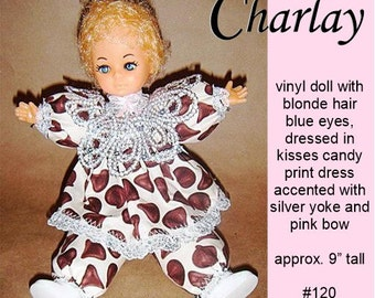 Charlay, OOAK Caucasian vinyl doll, blonde hair blue eyes, great for Christmas or Valentine's Day