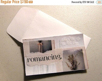 20% Off CIJ Sale BOGO ITEM Collage Series: Romancing (Unique Handmade Collage Card for Gift or Display) / Floral Shabby Chic Wall Art in Sof