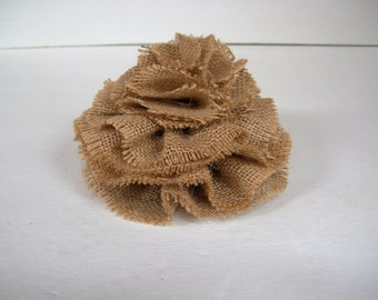 Beige Burlap Cake Topper, Large Burlap Flower, Rustic Wedding, Farmhouse Wedding- 5 inch diameter