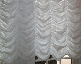 Austrian Balloon Sheer Window Treatments for LARGE WINDOWS & Sheer Lined for Privacy