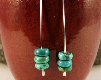 Sterling Silver Ear Threads with Turquoise beads.  Modern, Minimalist, Eco Friendly