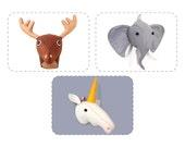 Plush Pattern Bundle, Felt Faux Taxidermy, Stuffed Animal Head Sewing Tutorial, Buy 3 Get One 1/2 Off Discount