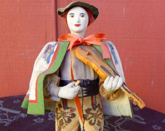Unusual Vintage European Greek Italian Musician Figurine Violin Hand-Painted Folk Costume