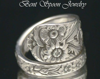Sterling Spoon Ring, Silverware Jewelry, Sterling Silver Floral Spoon Ring size 8.5 SS72