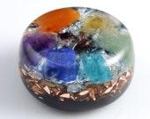 Orgonite Orgone Generator with Chakra Stones, Tibetan Crystals, Phenacite, Petalite, Selenite, Rhodozite, Elite Shungite, Tourmaline (h7)