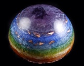 """Orgonite 2"""" Chakra Dome with Appropriate Chakra Stones ... Orgone Energy Generator"""