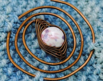 Pink and Lilac Spiral Shawl Pin in Vintage Bronze