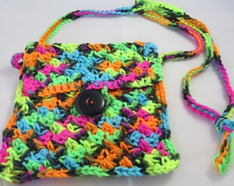 Neon Colored Crochet Mini Purse