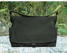 Summer Sale 10% off black cotton canvas shoulder bag, school bag and travel bag for men and women