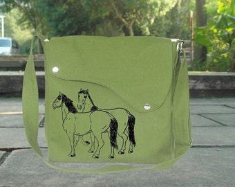 Grass green cotton canvas messenger bag with hourses printed, crossbody bag, canvas purse