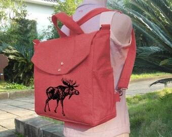 Red cotton canvas backpack, travel bag, handbag, canvas messenger bag, shoulder bag, laptop bag