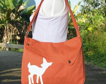 orange cotton canvas messenger bag / shoulder bag / deer messenger /diaper bag / fawn sewn