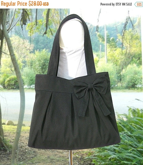 Holiday On Sale 10% off black cotton fabric purse with bow / canvas tote bag / shoulder bag / hand bag / diaper bag - zipper closure