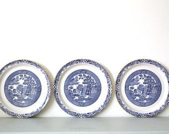 Trio of Willow Blue Side Plates by Brendan Erinstone of Arklow